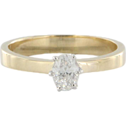 Estate 14k Two Tone Gold Oval Diamond Solitaire Engagement Ring
