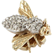 Vintage 14k Two Tone Gold Diamond Bee Brooch Pin