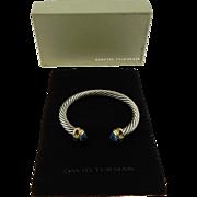 Authentic Yurman Sterling Silver 14K Gold Renaissance Cuff Bracelet Topaz Tourmaline