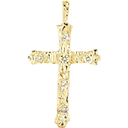 Vintage 1970's 14k Yellow Gold Diamond Cross Pendant