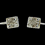 Vintage White Gold Diamond Screw Back Earrings Non Pierced