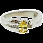 Estate LeVian 14 Karat White Gold Yellow Topaz Diamond Ring