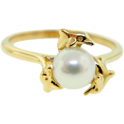 Estate Wyland 14 Karat Yellow Gold Dolphin Cultured Pearl Ring