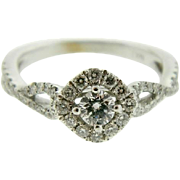 Dainty Estate White Gold Diamond Engagement Ring