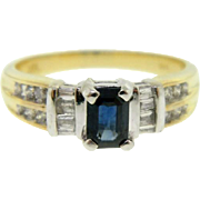 Estate 14 Karat Two Tone Gold Blue Sapphire Diamond Ring