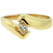 Estate 14 Karat Yellow Gold Marquise Cut Diamond Solitaire Engagement Ring