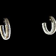 Estate 14 Karat White Gold Diamond Medium Small Hoop Earrings