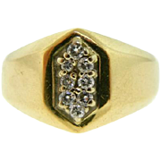 Vintage Stuller 14 Karat Two Tone Gold Diamond Men's Ring