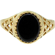 Vintage Yellow Gold Black Onyx Signet Ring