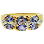 Estate 14 Karat Two Tone Tanzanite Diamond Ring Band