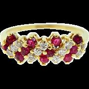 Estate 14 Karat Yellow Gold Ruby Diamond Ring