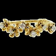 Estate 14 Karat Two Tone Gold Diamond Flower Ring Band