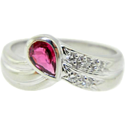 Estate 950 Platinum Ruby Diamond Engagement Right Hand Ring