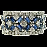 Estate 14 Karat White Gold Diamond Blue Sapphire Ring Band