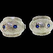 Vintage 1970s 14 Karat White Gold Blue Sapphire Cufflinks