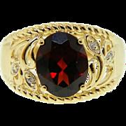 Estate Yellow Gold Red Garnet Diamond Ring