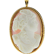 Vintage 14K Yellow Gold High Relief Alabaster Cameo Brooch Pendant