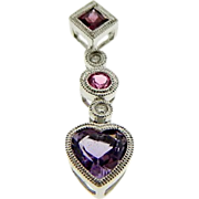 Estate 14K White Gold Amethyst Heart Pink Tourmaline Diamond Drop Pendant