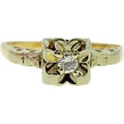 Vintage 14K Two Tone Gold Diamond Solitaire Engagement Ring
