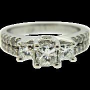 Estate 14K White Gold Princess Diamond Trilogy Engagement Ring
