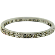 Vintage 14K White Gold Diamond Eternity Wedding Ring Stackable Band