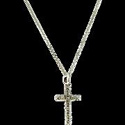 Estate 14K White Gold Diamond Cross Pendant Necklace