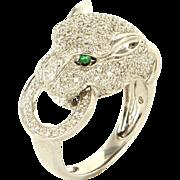 Estate 14K White Gold Diamond Emerald Panther Ring