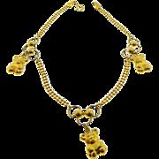 Estate 18 Karat Yellow Gold Teddy Bear Charm Bracelet