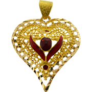 Estate 18 Karat Yellow Gold Red Enamel Heart Pendant