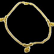 Estate 18 Karat Yellow Gold 3D Heart Anklet