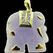 Estate 14 Karat Yellow Gold Carved Lavender Jadeite Elephant Pendant