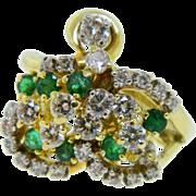 Vintage 18 Karat Two Tone Gold Emerald Diamond Cluster Cocktail Ring