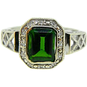 Estate 14 Karat White Gold Synthetic Emerald Diamond Ring