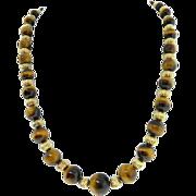 Estate 14 Karat Yellow Gold Tiger's Eye Bead Necklace