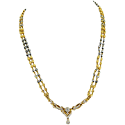 Estate Handmade 22 Karat Yellow Gold Hematite Diamond Necklace