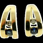 Estate 14 Karat Yellow Gold Blue Spinel White Topaz Post Earrings