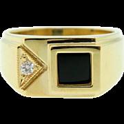 Estate Yellow Gold Onyx Diamond Men's Dress Ring