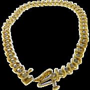 Vintage Yellow Gold Diamond S Link Bracelet 1.47 Ctw