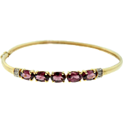 Vintage Two Tone Gold Rhodolite Garnet Diamond Hinged Bangle Bracelet