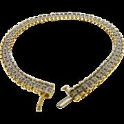 Vintage 14 Karat Two Tone Gold Diamond Line Bracelet