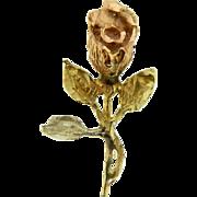 Vintage 14 Karat Tricolor Gold Rose Flower Pendant