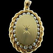 Vintage 14 Karat Yellow Gold Seed Pearl Diamond Locket Pendant