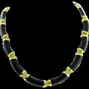 Estate 14 Karat Yellow Gold Black Onyx Necklace