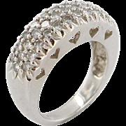 Estate 14K White Gold Pave Diamond Wedding Band Anniversary Ring