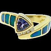 Estate Yellow Gold Tanzanite Diamond Opal Inlay Ring