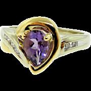 Estate 14 Karat Two Tone Gold Amethyst Diamond Ring