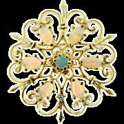 Vintage 14 Karat Yellow Gold Natural Opal Brooch Pendant