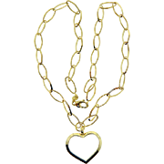 Estate 14 Karat Yellow Gold Open Heart Necklace Unusual Chain