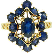Estate Yellow Gold Blue Sapphire Cocktail Ring