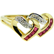 Estate Two Tone Gold Ruby Diamond Double Open Heart Ring